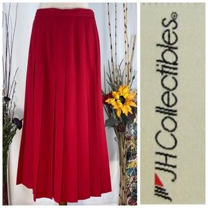 JH Collectibles red pleated maxi skirt.